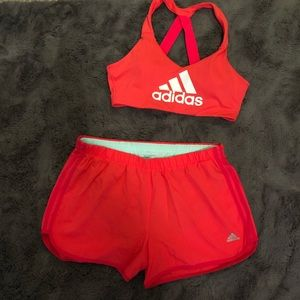 matching adidas sports bra and running shorts
